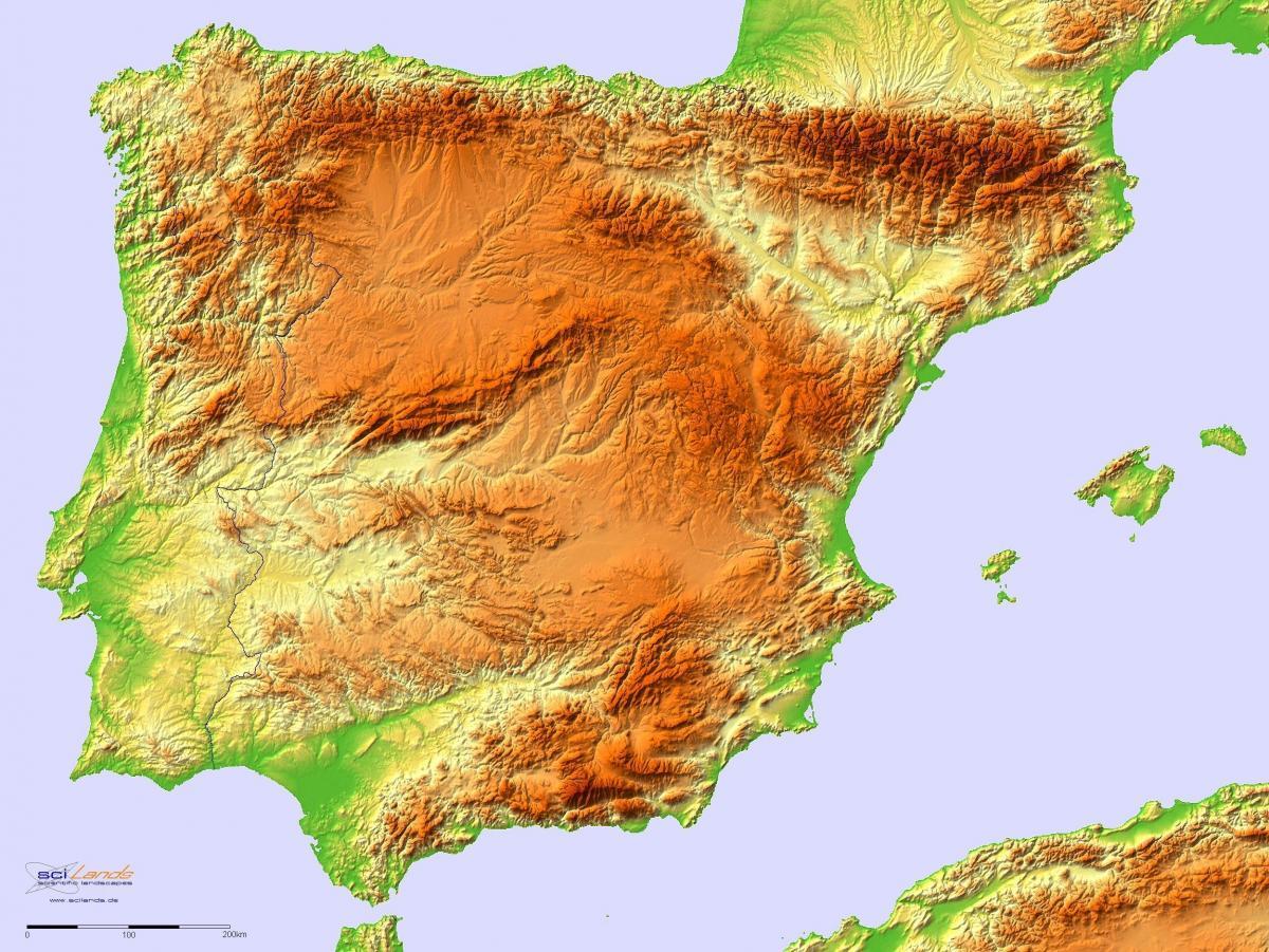 Relefna Karta Na Ispaniya Karta Na Ispaniya Relef Yuzhna Evropa